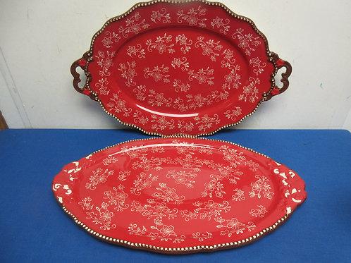 Set of 2 tempation floral lace platters