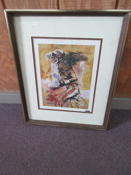 """Watercolor print of football player running with ball, wood frame 17x21"""""""
