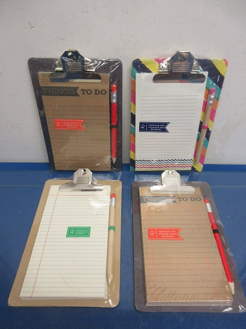 """Set of 4 assorted styles """"things to do"""" clip boards with pads and pens - new -"""