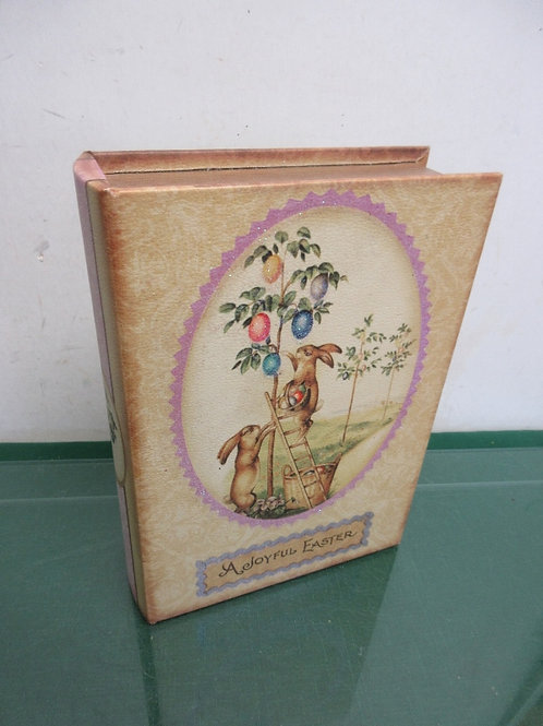 Easter theme wood storage box with magnetic closure - book shaped
