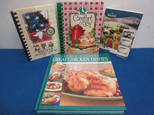 Set of 4 cookbooks, comfort foods, chicken dishes and more
