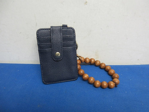 Small creit card wristlet with key chain hook & beaded bracelet attachment