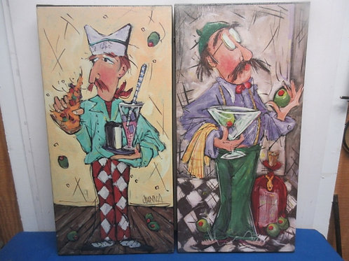 Pair of veritcal stretched vinyl chef/restaurant prints, each 12x24