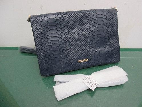 GIGI New York navy blue leather bag with shoulder strap, New