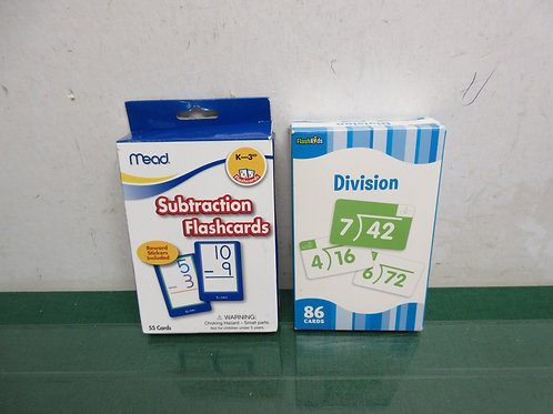Subtraction and Division flash cards