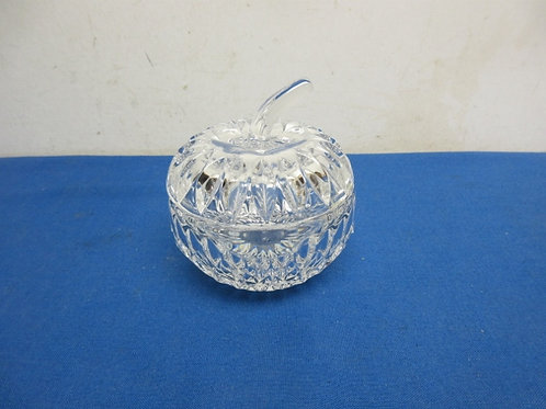 Glass apple candy dish with lid