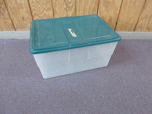 "Clear storage container with green lid 16x22x11""high"