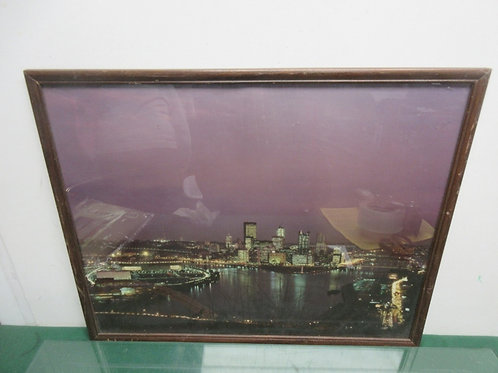 """Print of Pittsburgh Point at night/north shore in wood frame 21x17"""""""