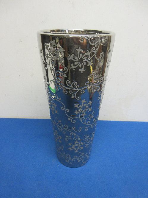 "Heavy silver foral design vase 5""dia x12""tall"