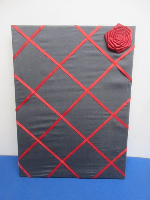 "Gray and red ribbon memo board, 16x24"""
