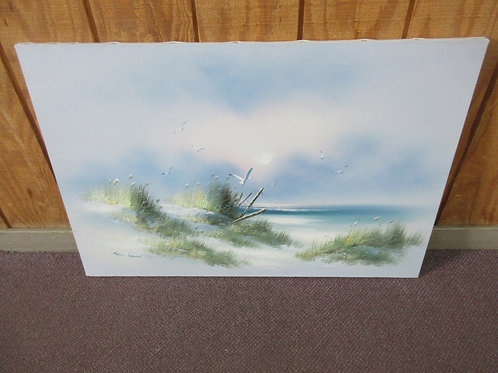 Beach scene painted stretched canvas wall art - 38x24