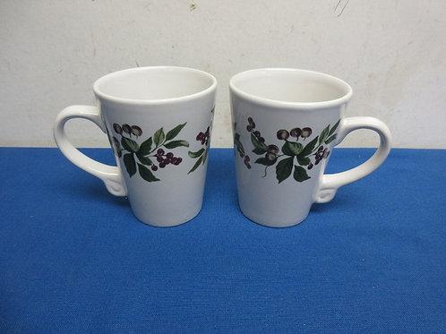 Califorinia Pantry pair of white coffee mugs with floral design