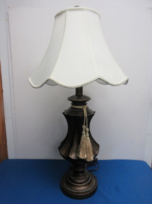 """Black and gold table lamp with white shade and tassel 32"""" high"""