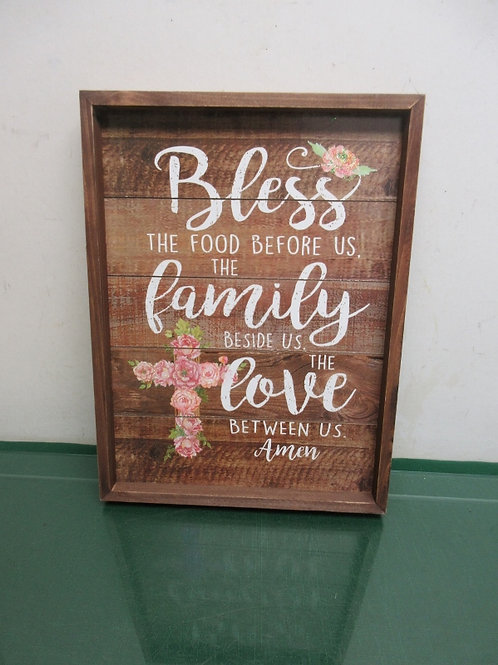 """Wood slat wall hanging """"Bless the Food before us..."""" 11x15"""