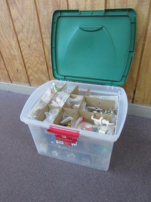 Sterilite Ornament storage box w/more than 50 assorted ornaments