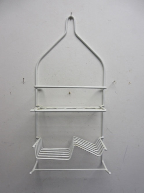 White vinyl over metal hanging shower caddy