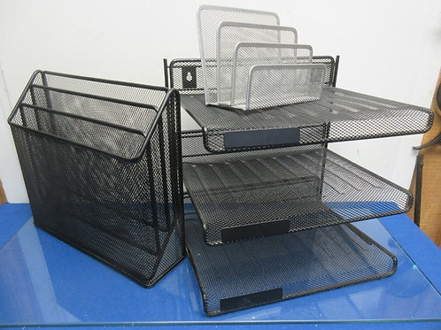 Set of 3 metal mesh desk top organizers, 3 tier stacking unit and 2 slot type