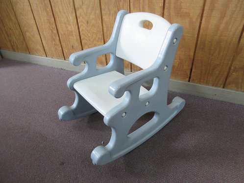 Blue and white childs plastic rocking chair