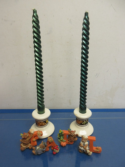 """Pair of fall candle holders, candles and decorative word """"FALL"""""""