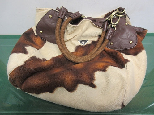 Prada large cow hide style hobo style purse
