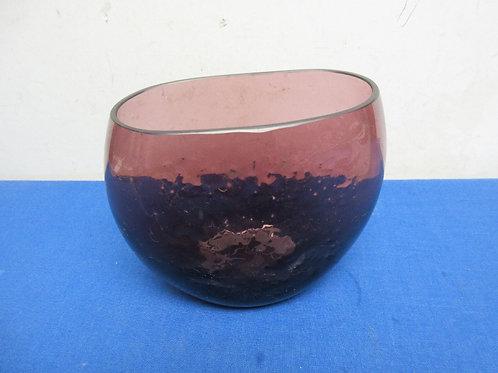 "Heavy purple glass oval vase 6"" tall"