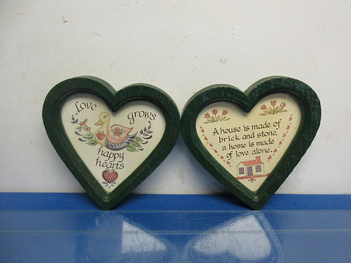Pair of wooden heart wall hangings with sayings