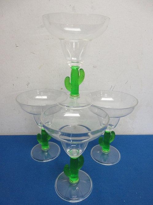 Set of 4 plastic margaretta glasses the stems are cactus