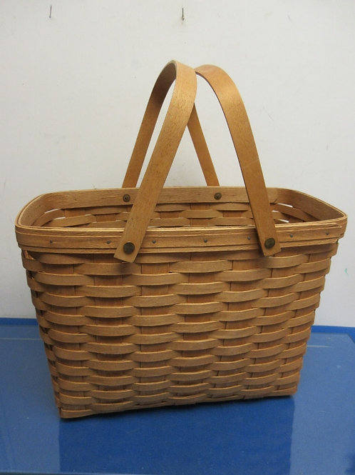 Longaberger large deep rectangular basket with double moveable handles - 16x12x8