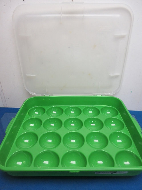 Green and clear Christmas ornament storage box
