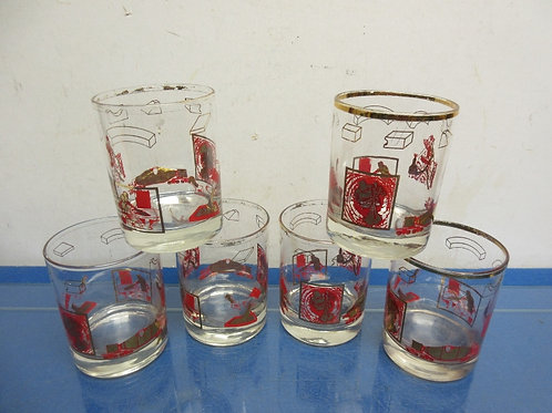 Vintage set of 6 old fashion glasses with gold and red designs