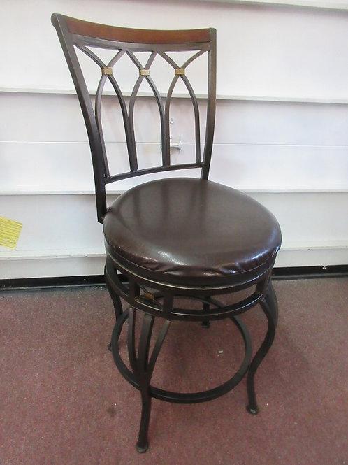 "Black metal swivel stool with back and black vinyl seat - seat 24"""