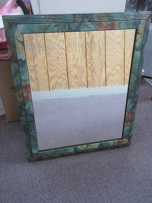 Home Interiors hanging mirror with green floral frame