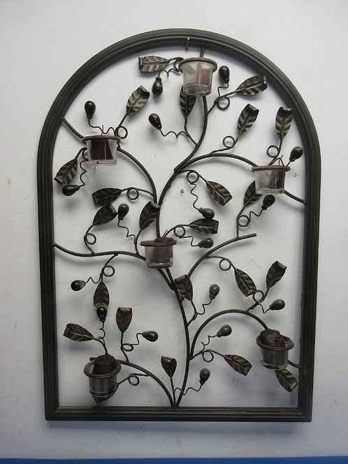 Metal wall hanging with leaf design and 6 votive candle hodlers - 20x29
