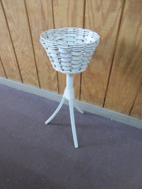"""White woven plant stand 27"""" high"""