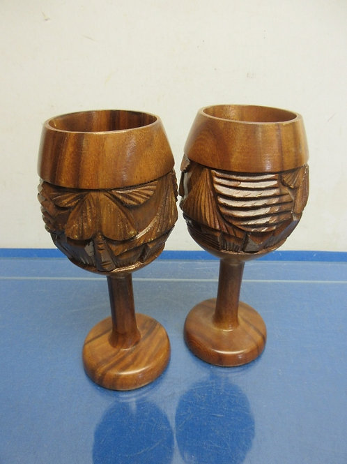 Pair of wood carved wine goblets