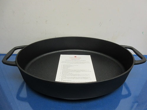 "Cook's Essentials elite nonstick cast iron 14"" oval pan w/stainless trivet"