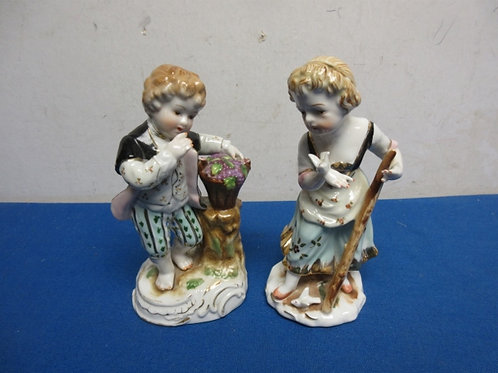 """China statues of boy and girl, 6"""" tall"""