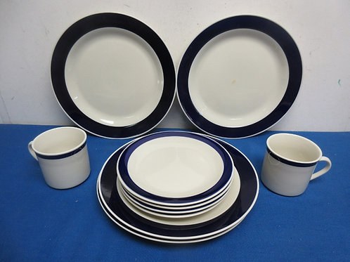Gibson 10 pc blue and white dinnerware set - 4 dinner plates, 4 small plates & 2