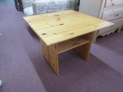 """Light tone pine square coffee table with lower shelf, 28x28x21""""high"""