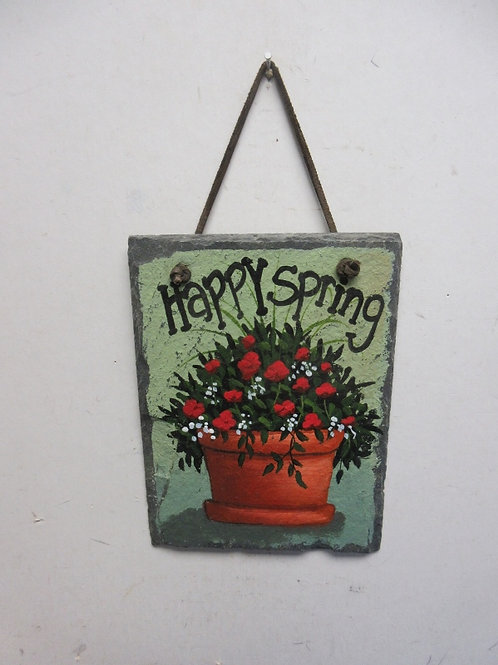 """Slate wall hanging """"Happy Spring"""", 6x8"""""""