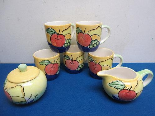 Set of 5 bella ceramic fruit design mugs with matching creamer & sugar bowl