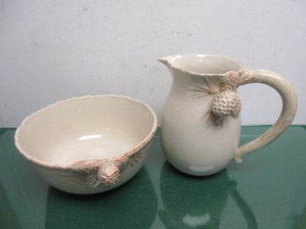 Vintage ivory pitcher & bowl with pinecone design