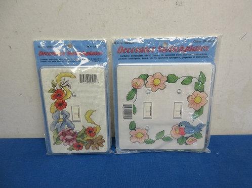 Pair of cross stitch, light switch kits