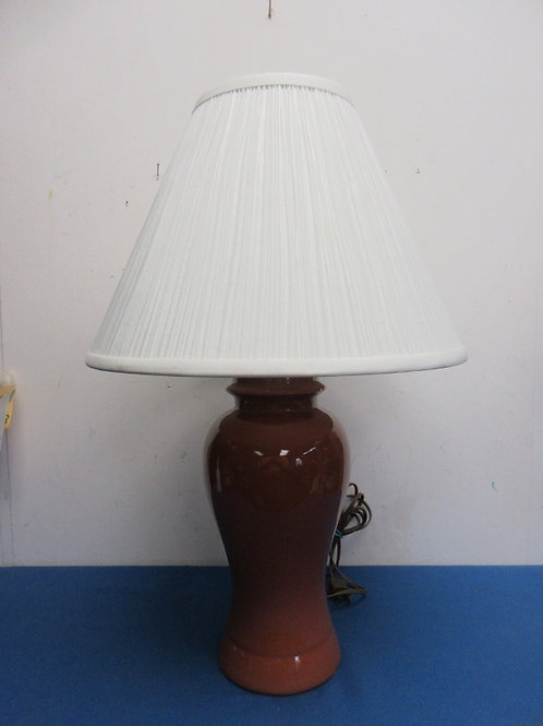 """Burnt orange table lamp with white shade, 24""""high"""