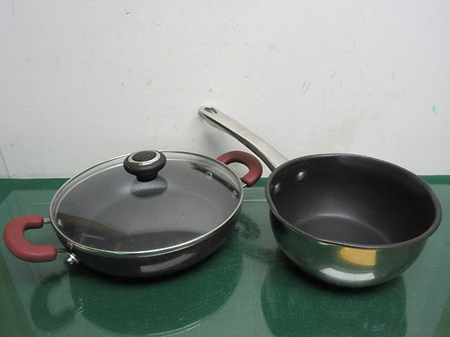 """Cook's Essential 2qt saucepan and 10"""" double handle nonstick pan with lid"""