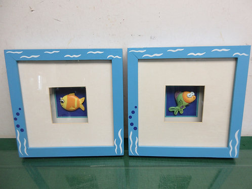 Pair of dimensional fish in shadowbox wall hangings, white mat in blue frame8x8""