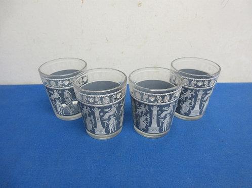 Set of 4 vintage blue & white roman design juice glasses
