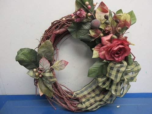 """Vine wreath, red with large rose, 16""""diameter"""