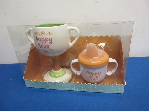 """Novelty pack of cups, double handle stemware """"HappyHour"""", Dbl handle sippy cup n"""