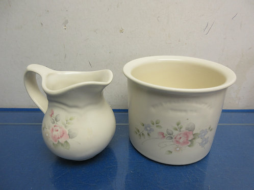 "Pfaltzgraffz ""tea rose"" pitcher and utensil holder"